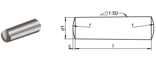 Goupille inox conique selon DIN 1 – sim. ISO 2339